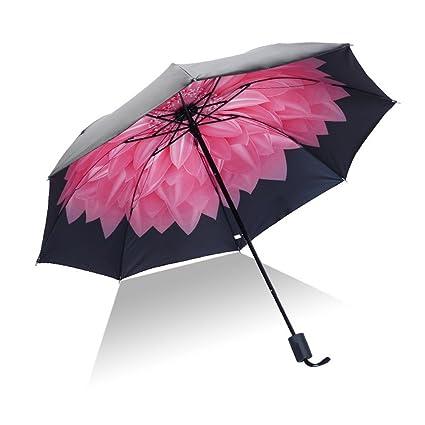 lzndeal Paraguas,Hombres Mujeres Sun Rain Umbrella UV Protección a Prueba de Viento Plegable Compact