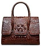 PIJUSHI Top Handle Satchel Handbags Crocodile Women Leather Purse (Small size 27008, brown)