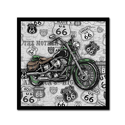 Vintage Motorcycles On Route 66 14 by Jean Plout, 14x14-Inch Canvas Wall Art