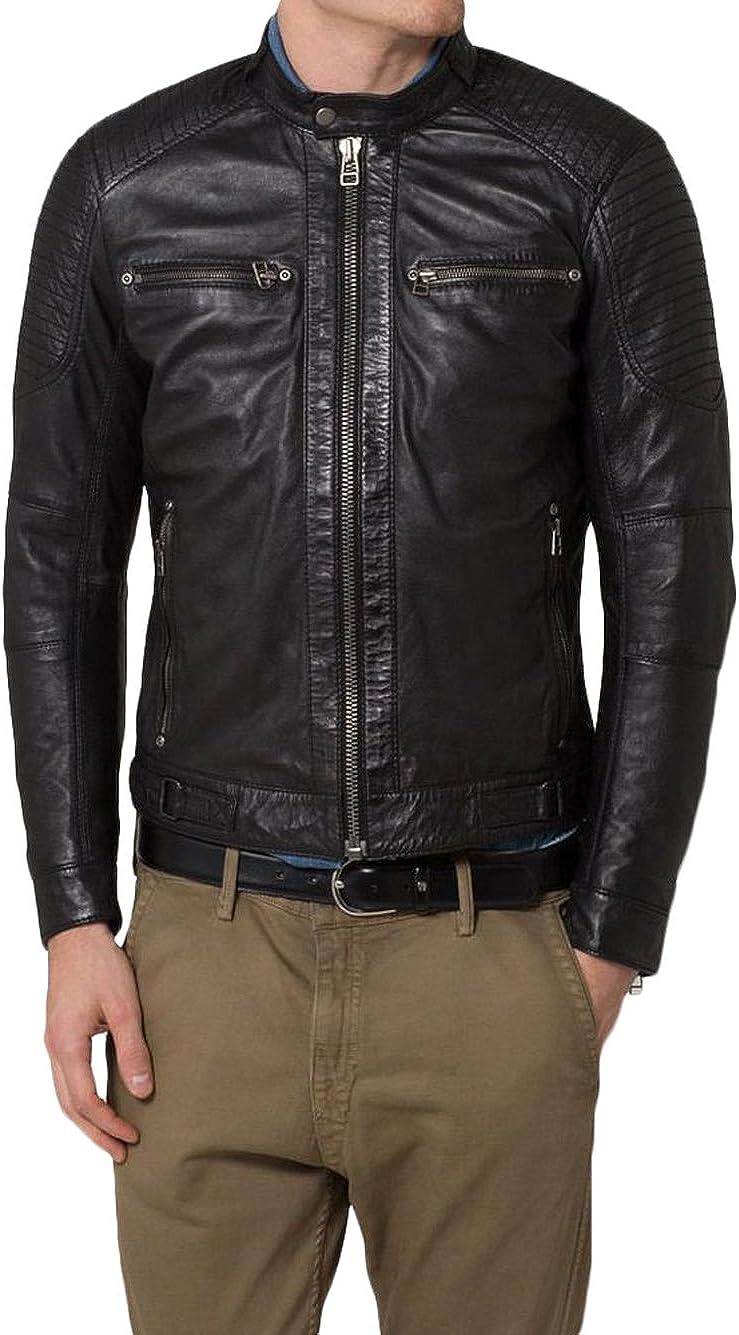 Kingdom Leather New Men Designer Genuine Lambskin Soft Biker Leather Jacket X914