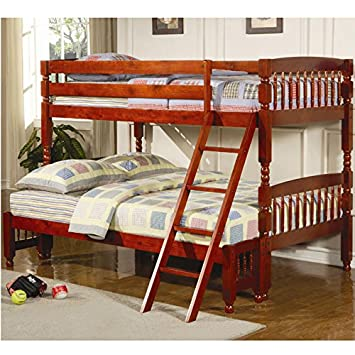 coaster coral twin over full bunk bed in cherry finish