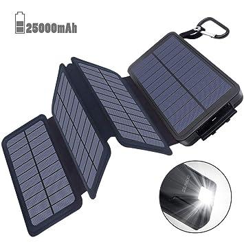 Batería Externa 25000mAh Cargador Solar, Power Bank solar - 2 Entradas (4 Paneles Solares y USB) 2 Puertos USB de Salida 2.1A, Lámpara y Gancho LED, ...