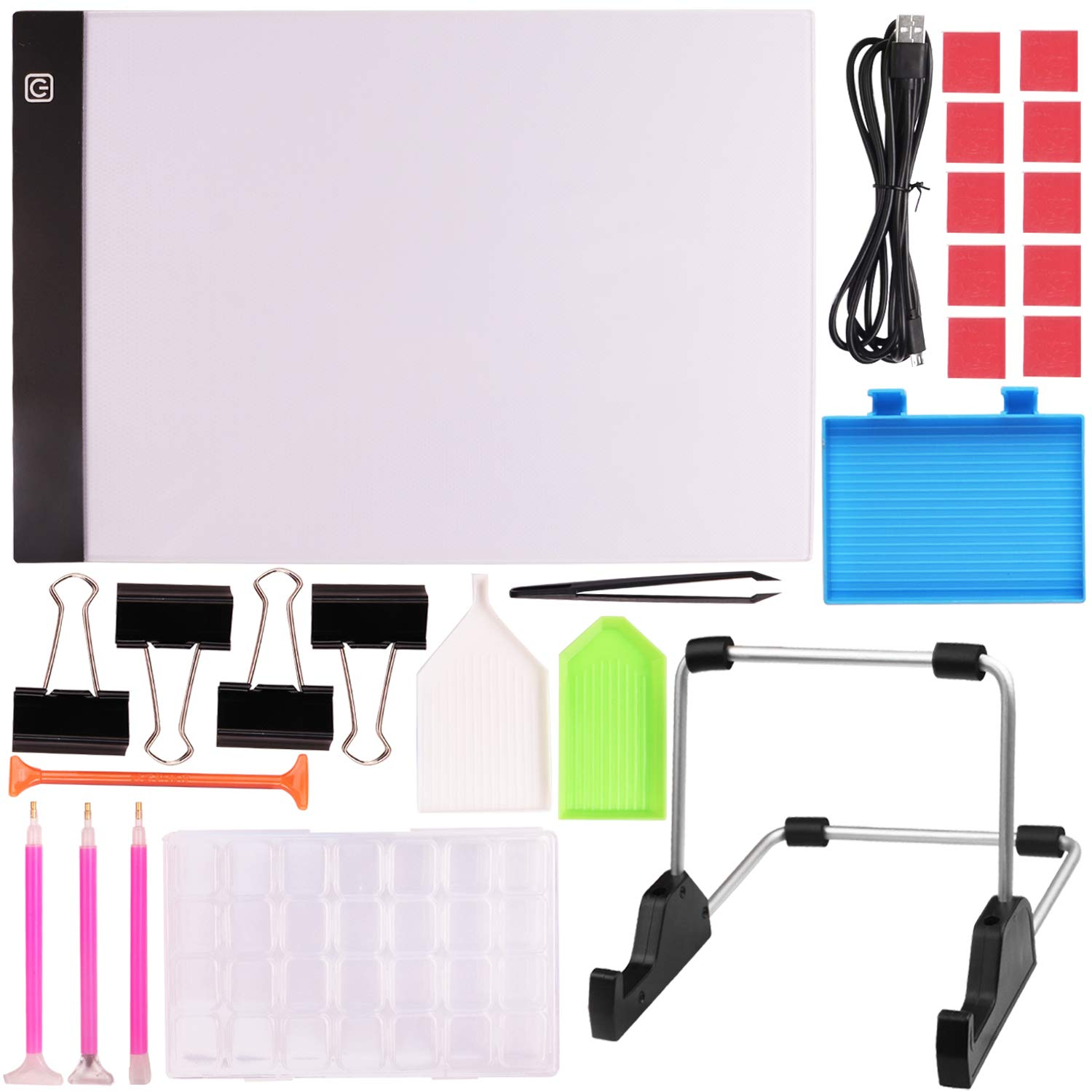 Diamond Painting Light Board A4 Portable LED Light Box Pad with 20 Pieces Diamond Painting Tools for Art Craft 5D DIY Diamond Painting Drawing Accessories for Adults or Kids by INFELING