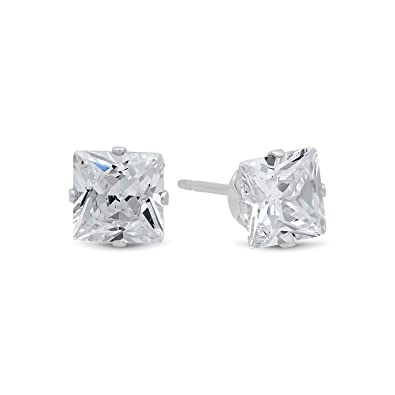 c9d174a5e Princess Cut Clear Simulated Diamond 5mm CZ Sterling Silver Stud Earrings  Made in Italy + Cleaning Cloth: Amazon.co.uk: Jewellery