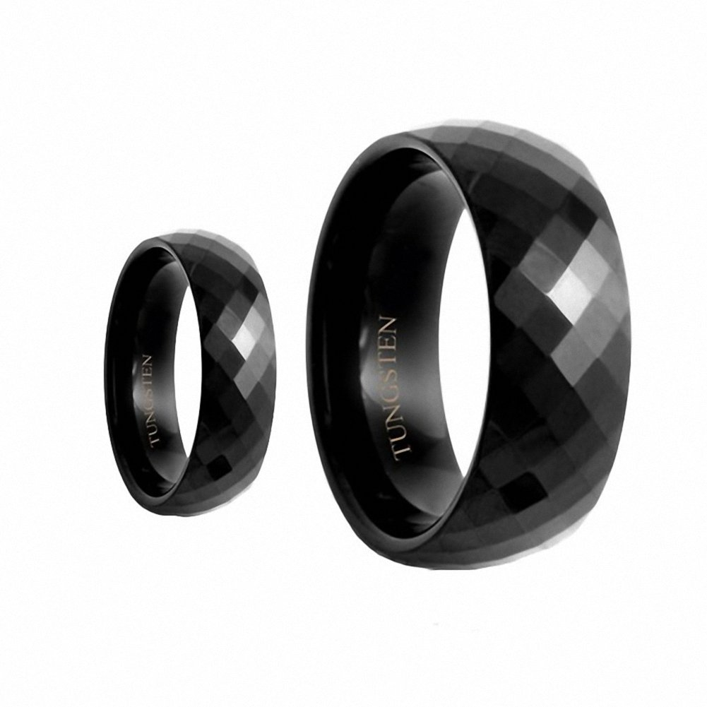 His & Her's 8MM/6MM Black Polished Facet Cut Shiny Tungsten Carbide Wedding Band Ring Set , Sizes 5-15 Including Half Sizes , Ladies Size 9 - Mens Size 9