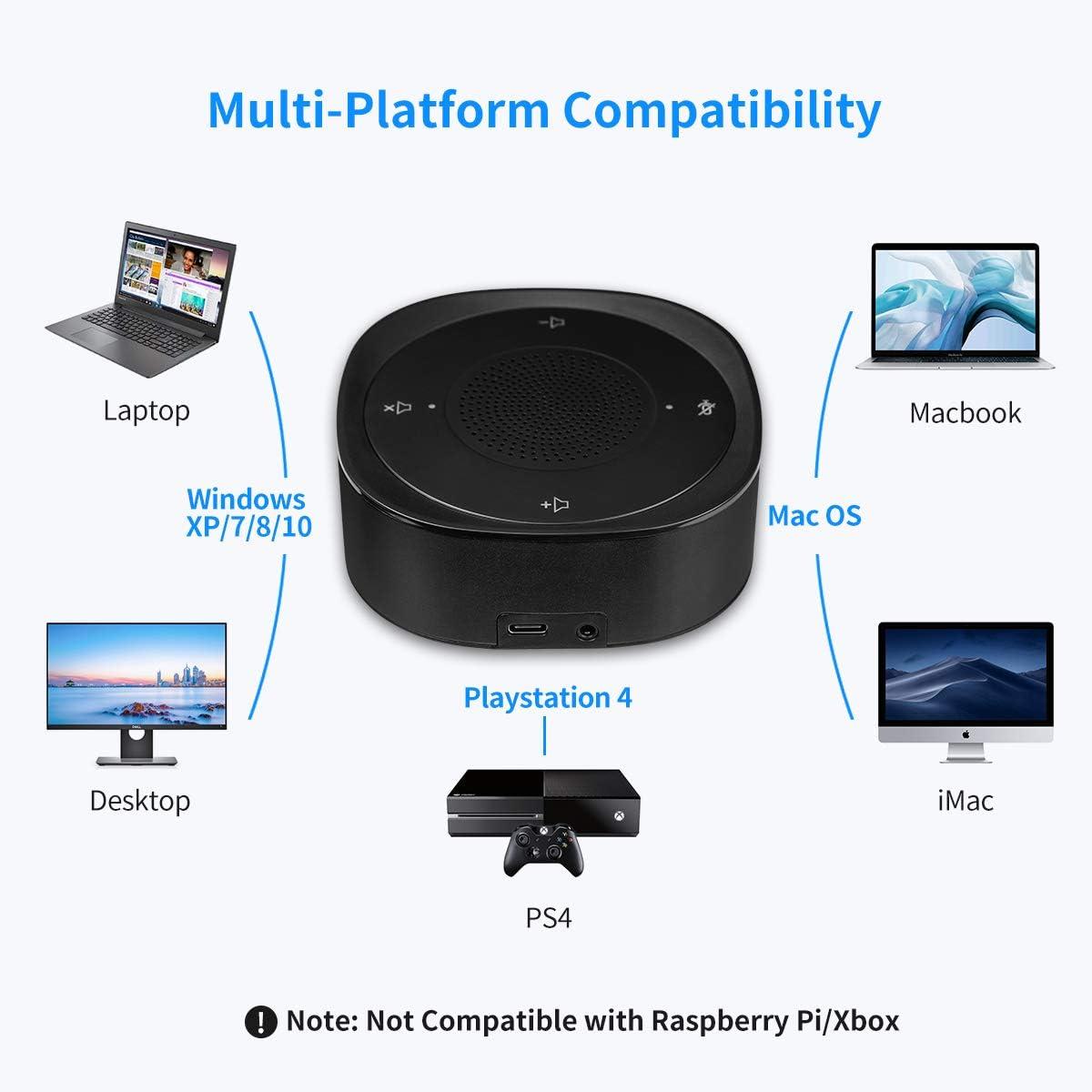 juegos Micr/ófono conferencia USB chat 360 /° Omnidireccional PC de escritorio Computadora Micr/ófonos computadora port/átil con Mute Plug /& Play Compatible con Mac OS X Windows para videoconferencia