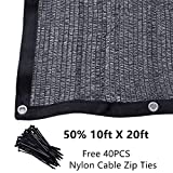50% 10ft x 20ft Black Sunblock Shade Cloth with Grommets for Plant Cover Greenhouse,Barn,Kennel, Pool, Pergola or Carport