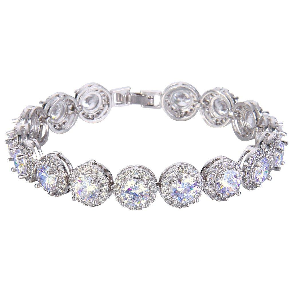 EVER FAITH Silver-Tone Round Cubic Zirconia December Birthstone Roman Tennis Bracelet Clear