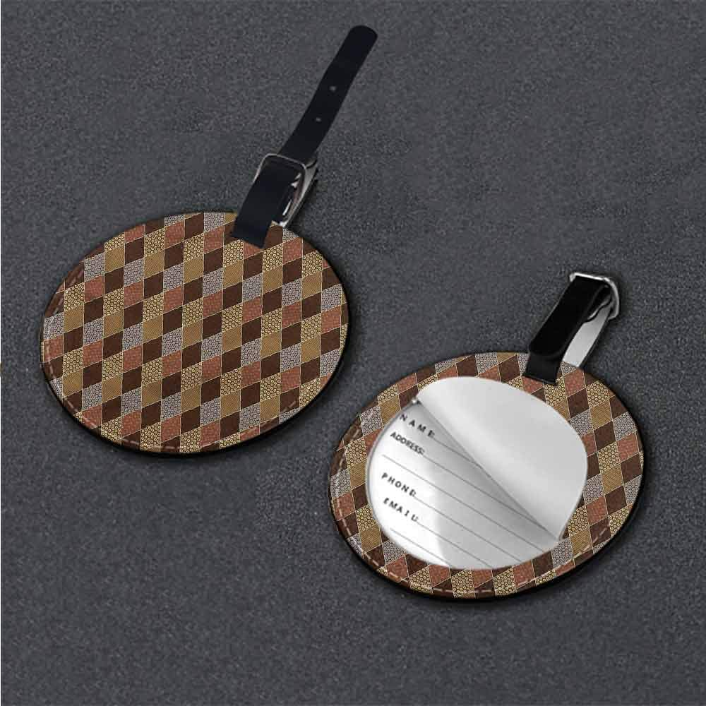 Round Leather Luggage Brown,Circles and Small Polka Dots Round Luggage Tags