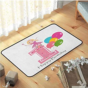 Indoor Mats, Easy Clean Rubber Back Soft Bedroom Rugs Bedroom Home Decor Nursery Rugs | 1st Birthday Princess Fairy Party Theme with Best Wishes Pink Wand and Balloons Pale Pink and Lilac, W31 x L47