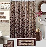 18 Piece High Quality Geometric Designs Banded Shower Curtain Bath Set,1,Bath Rug,1 Contour Rug 1, shower curtain 12 Metal Crystal Roller Ball Shower Hooks 3 Pcs Matching towel set (Linda)