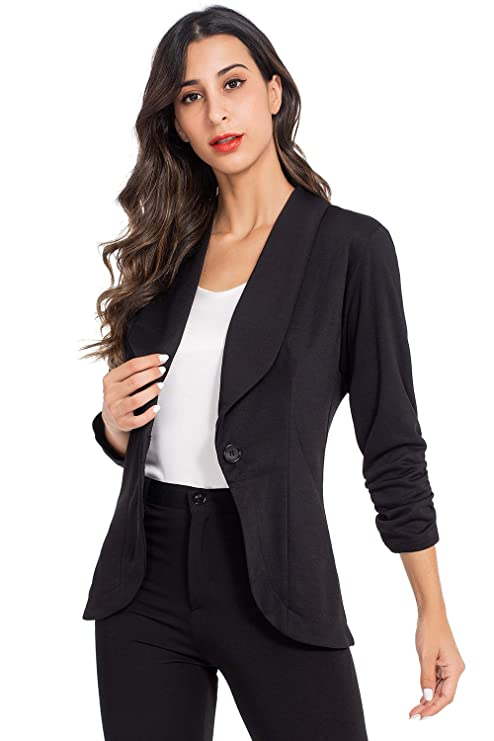 AUQCO Women's Open Front Casual Work Office Blazer Jacket with Button best women's blazers