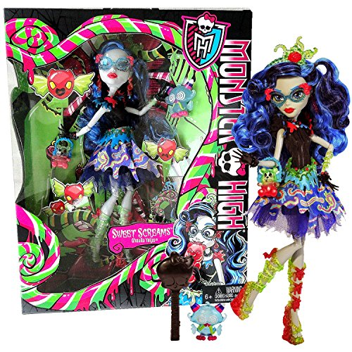 MH Year 2014 Monster High Sweet Screams Series 11 Inch Doll Set - GHOULIA YELPS with Purse, Candy Pet Owl, Hairbrush and Display Stand (Monster High Ghoulia Yelps Doll With Pet Owl)