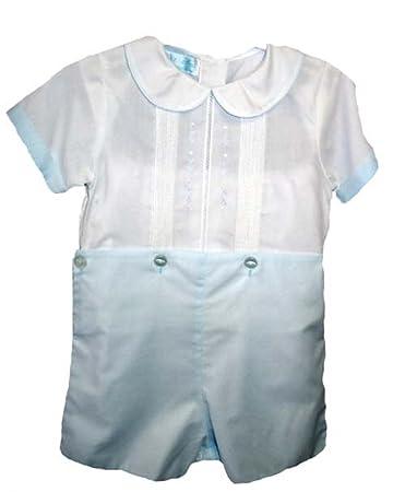 3c80fb301ef7 Amazon.com  Petit Ami Boys Blue White Take Home Romper Outfit - 12M ...