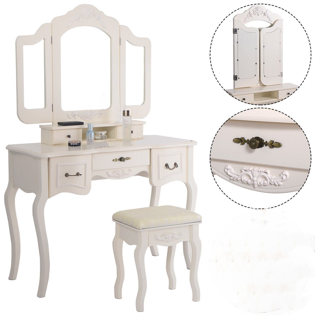Tri Folding Vintage White Vanity Makeup Dressing Table Set 5 Drawers &stool