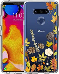 LG V40 ThinQ Case, Unov Clear with Floral Design Soft TPU Shock Absorption Slim Embossed Pattern Protective Back Cover(Leaves Lyrics)