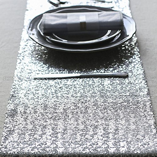 10 Pcs Silver Sequin Table Runners Sparkly Bling Wedding Party Decor 12''x118'' by Heaven Tvcz (Image #4)