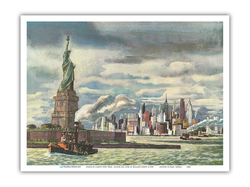 Pacifica Island Art Master Art Print New York United Air Lines Vintage Airline Travel Poster by Millard Sheets c.1958 Statue of Liberty 12in x 18in