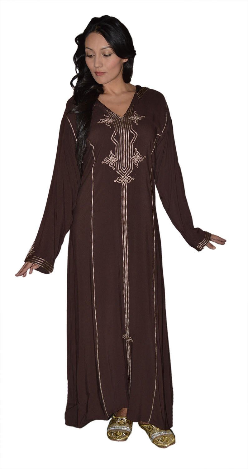 Moroccan Caftans Women Hand Made Djellaba Embroidered Sixe X-Large Dark Brown