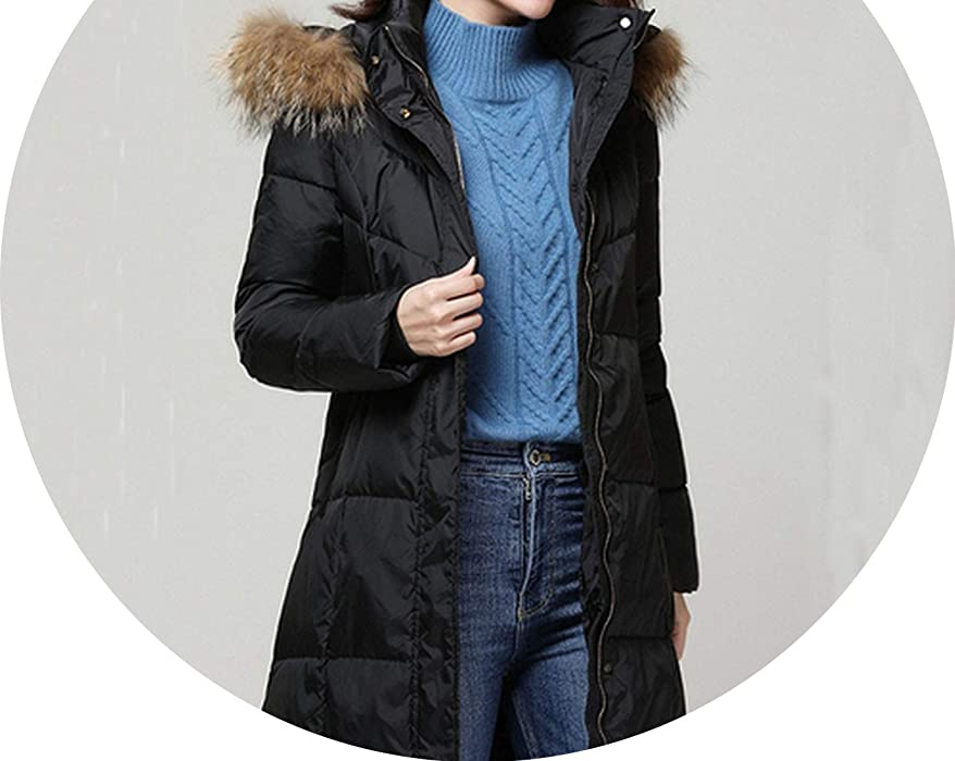 Amazon.com: White Winter Down Jacket Women Hooded Coat Warm ...