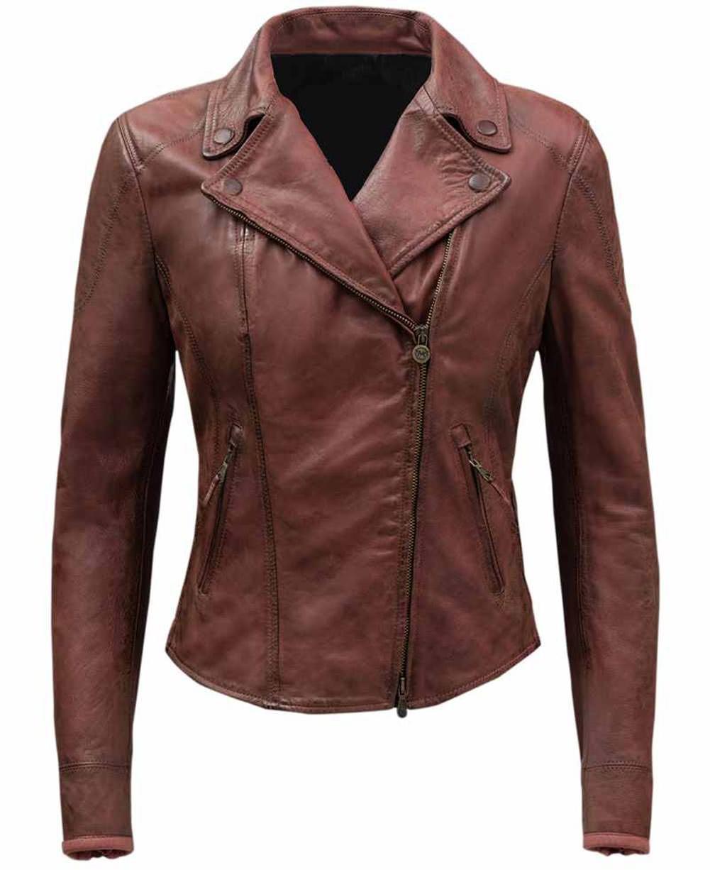fjackets Women Ramsey Red Slim Fit Elegant Coat Style Leather Jacket - S