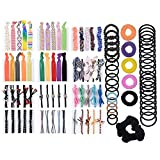 #4: 101 PCS Natural Curly Hair Ties Rope Assorted (15 Styles ) Colored Thick Hair Elastic Bands Ribbon No Crease Ponytail Holders For Women Girls