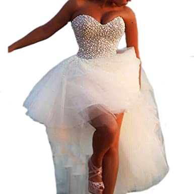 DreHouse Women\'s Beaded Crystal High Low Tulle Wedding Dresses 2017 Plus  Size