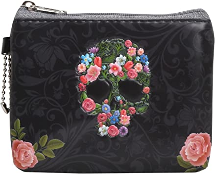 Kiss-lock Change Coin Purse Wallets for Women Girl Skull And Roses Pouch Small Wallet