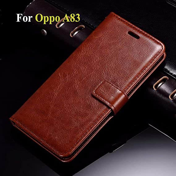 Thinkzy OP13LE2 Flip Case Cover for Oppo A83 (Brown)