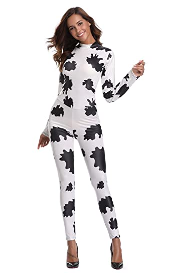 d8ace6dfafb8 Image Unavailable. Image not available for. Color  JJ-GOGO Zebra Print  Catsuit - Sexy Halloween Cowgirl Print Jumpsuit Party Fancy Dress Costume