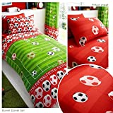 Goal Soccer Red UK Single / US Twin Duvet Cover and Pillowcase Plus Matching Single Fitted Sheet