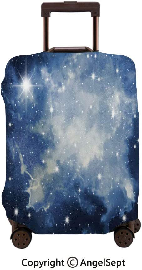 Fashion Travel Suitcase Protector Zipper,Blue Galaxies in Night Sky Celestial Stars Fog Magical Dark Blue Light Blue White,26x37.8inches,Washable Print Luggage Cover