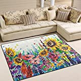Naanle Oil Painting Yellow Sunflower Area Rug 5'x7', Floral Art Polyester Area Rug Mat for Living Dining Dorm Room Bedroom Home Decorative