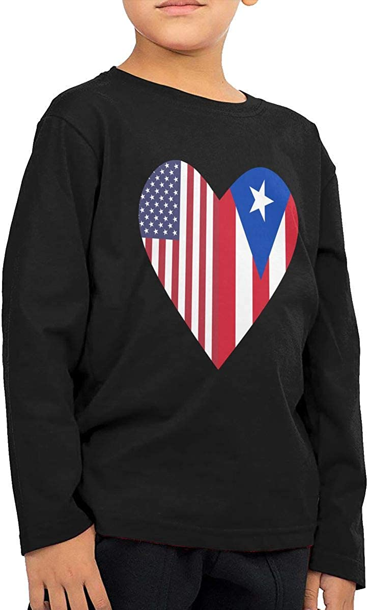 Baby Girls Kids Half Puerto Rico Flag Half USA Flag Love Heart ComfortSoft Long Sleeve Tee