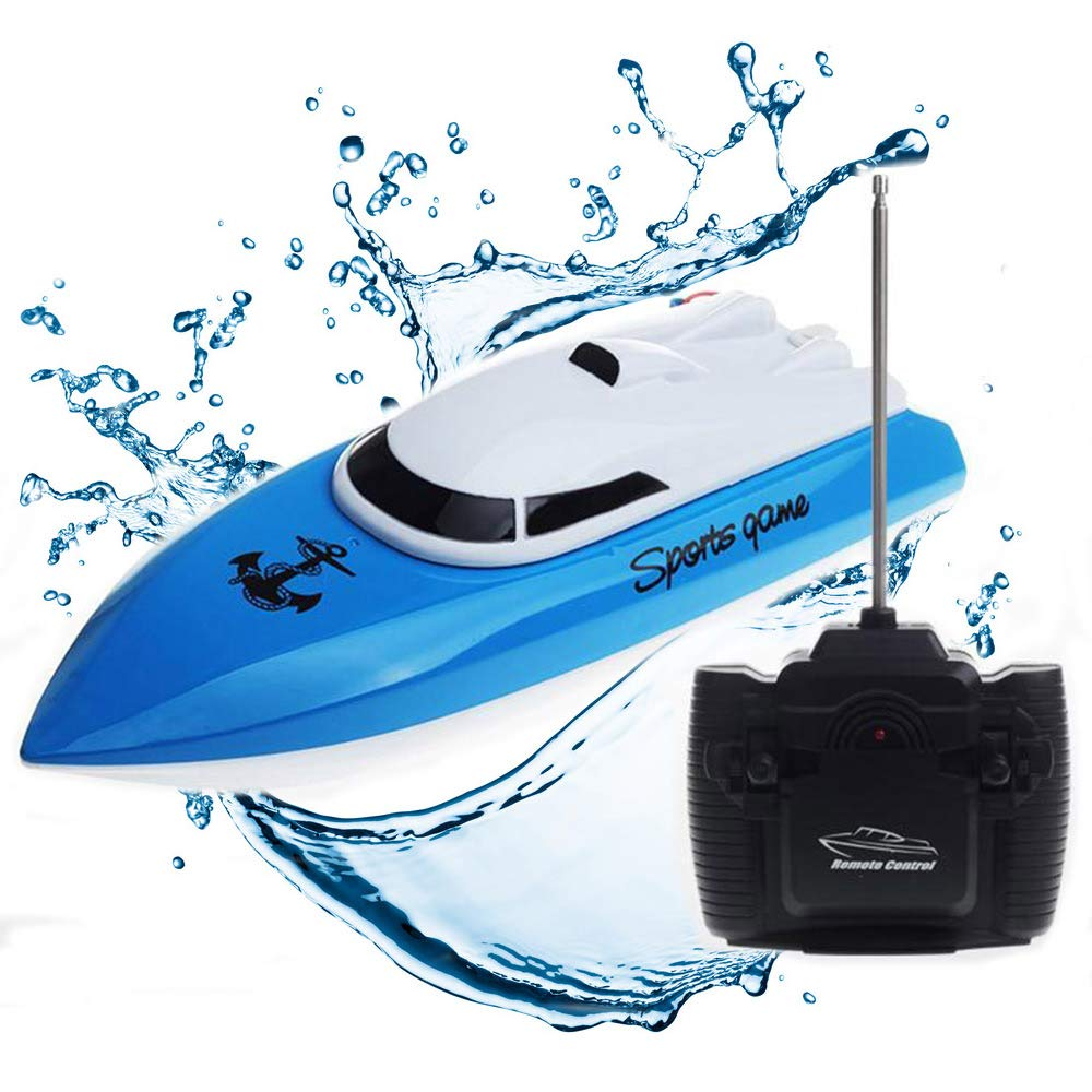 SZJJX RC Boat Remote Control Racing Boat High Speed Electric 4 Channels for Pools, Lakes and Outdoor Adventure for Kids JX802 Blue