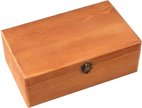 lyws 25 x 15 x 9 cm madera de pino caja de almacenaje con cerradura Retro color: Amazon.es: Instrumentos musicales
