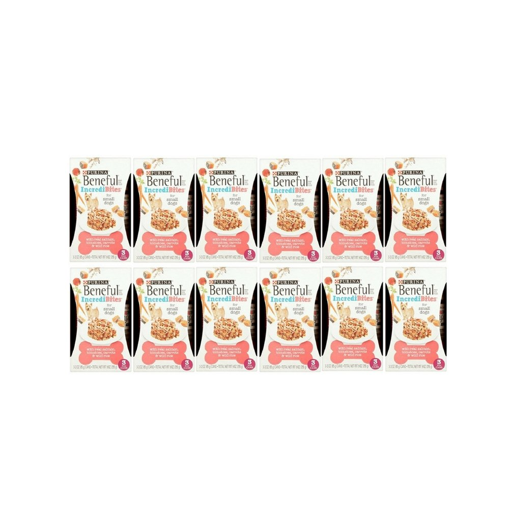 Purina Beneful IncrediBites with Real Salmon, Tomatoes, Carrots & Wild Rice Dog Food 3-3 oz. Cans, for Small Dogs (12 Pack)