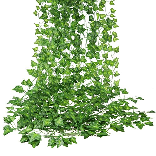 E-HAND Artificial Hanging Vine Leaf Garland Ivy Flower Fake Silk Leaves Greenery Wedding Kitchen Wall Garden Foliage Home Outdoor Party Festival Decor Wholesale 84 ()