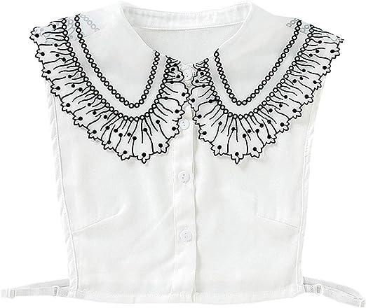 VAILANG Blusa para Mujer Suéter Solapa Decorativa Cuello Falso Bordado de Lunares Gasa de Encaje Media Camisa Desmontable Botón de Corbata Ropa: Amazon.es: Hogar