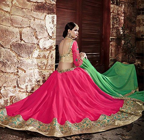 Da Facioun Womens Pink Striking Lehenga Choli With Embroidery Lace Work 80053