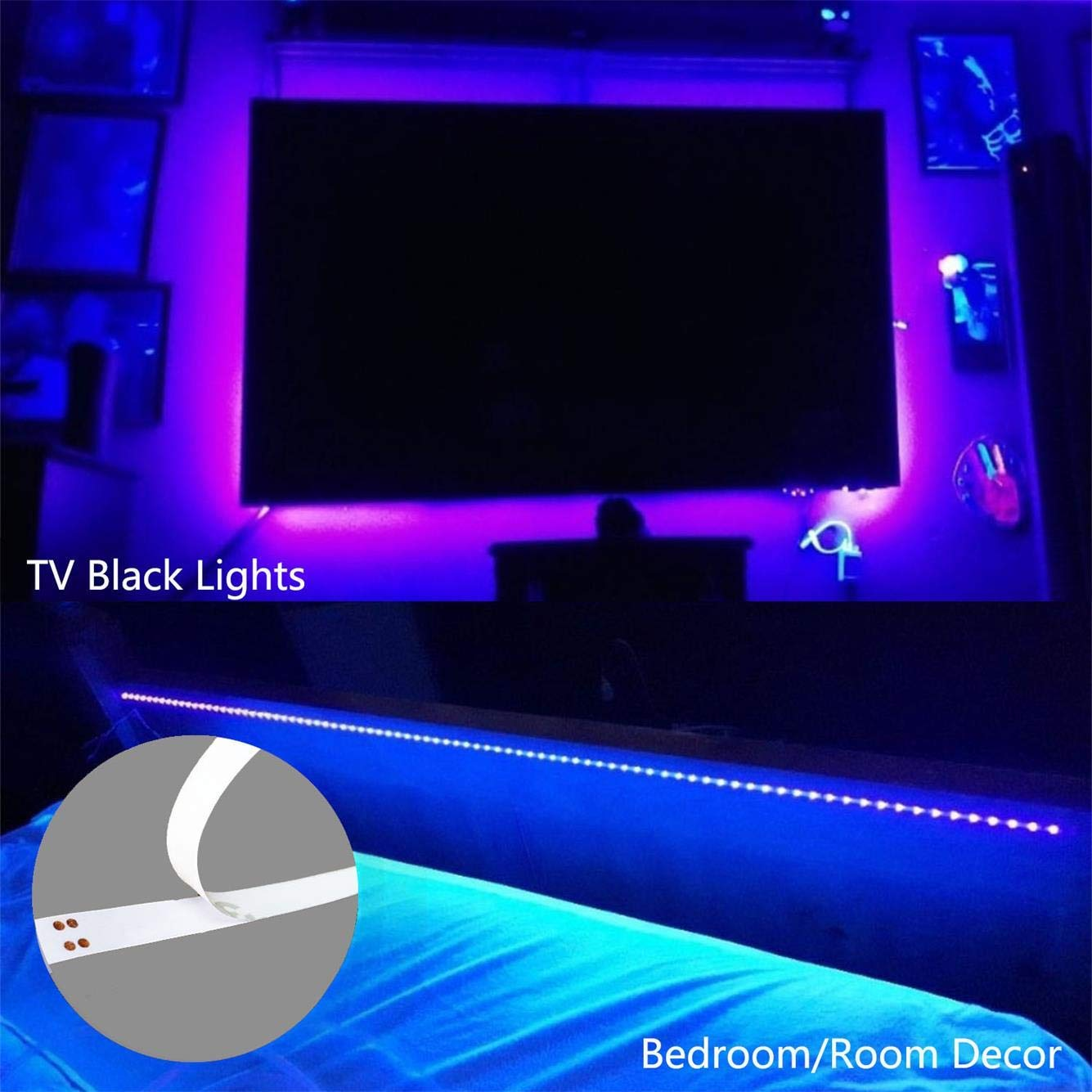 Tremendous Amars Usb Operated Uv Black Lights Led Strip 2M 6 6Ft 5050 Smd 395Nm 405Nm Blacklight For Sterilization Fluorescent Pc Poster Dj Party Room Interior Design Ideas Clesiryabchikinfo