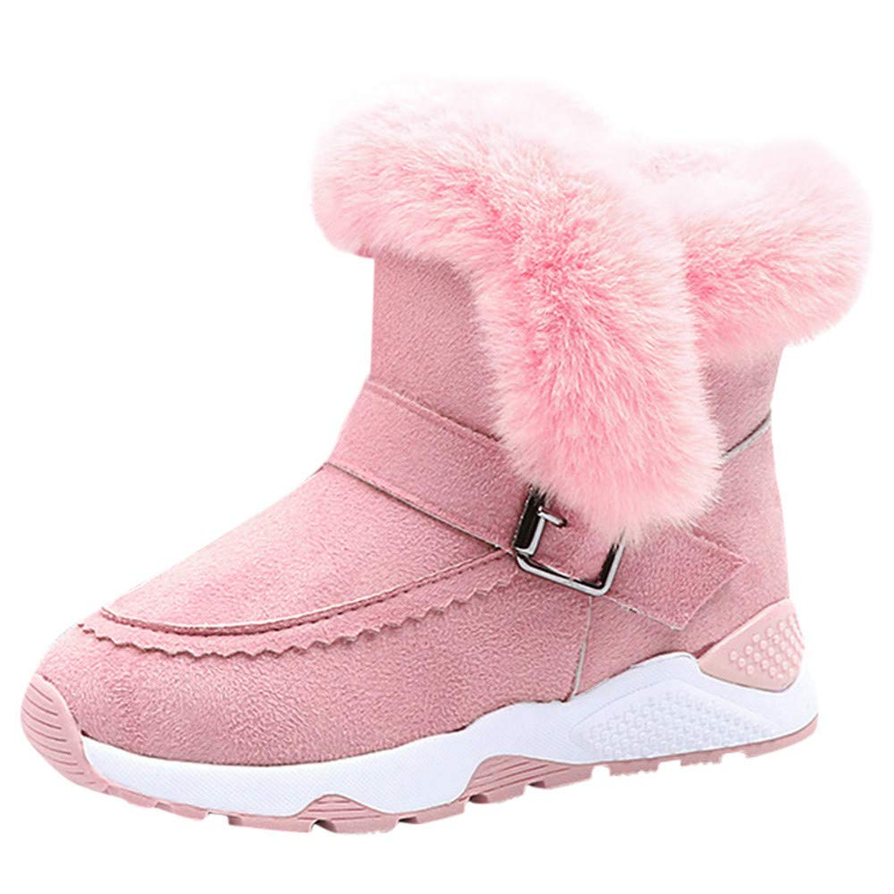 KVbaby Winter Snow Boots Slip-on Water Resistant Booties Boys Girls Anti-Slip Lightweight Ankle Boots Full Fur