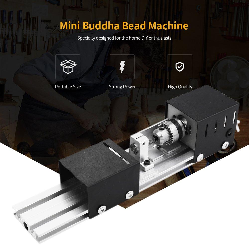 Walmeck 100W Mini Beads Machine Lathe DIY Woodworking Buddha Pearl Lathe Grinding and Polishing Polishing Drill Rotary Tool 12-24VDC