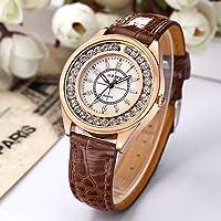 ShiningLove Men Women Couple Diamond-Bordered Waterproof Leather Belt Luminous Quartz Watch Wristwatch