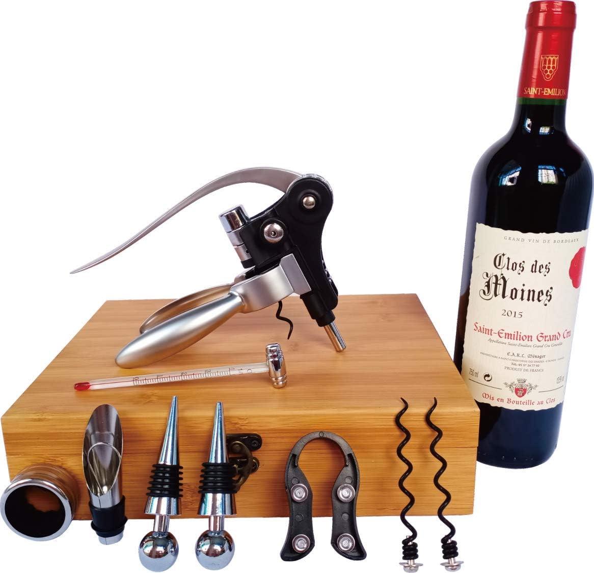 Compra Les Plaisirs du Chef - Caja de madera de bambú (regalo accesorios de vino, con sacacorchos de palanca y aireador) - 9 piezas en Amazon.es