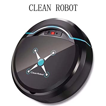 Limpieza Automática Robot Aspirador Fregona, Limpieza De Cabello De Mascotas Y Pelo De Humano Aspiradora Robotica Inteligente,Black