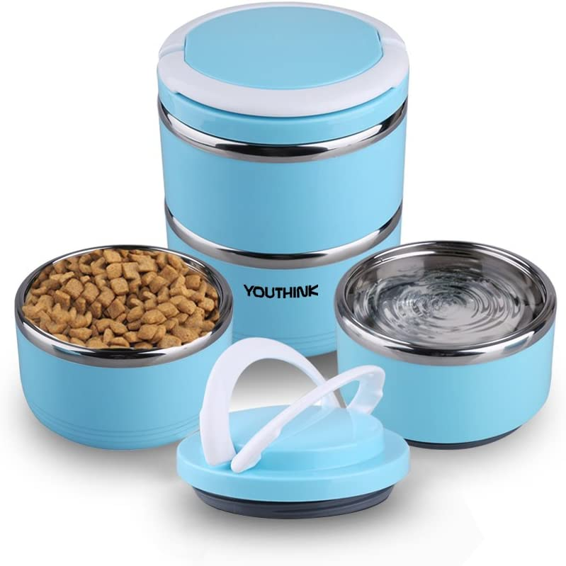YOUTHINK Travel Dog Bowl Stainless Steel Fit Water and Feed Bowl Portable Spill Proof Pet Bows Multiple Layers Pet Water Food Storage Container with Handle for Dog Cats Outdoor Traveling …