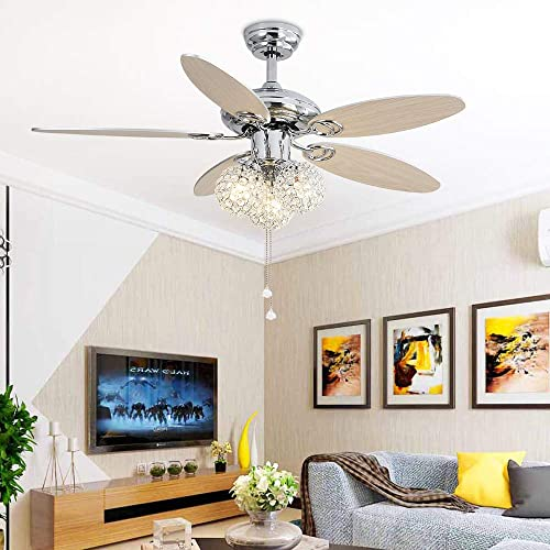 Tropwellhouse 48Inch 3 Lights Crystal Ceiling Fan with Chrome Body 5 Wood Blades for Reverse Remote Control Led Chandelier Fan Decoration Home