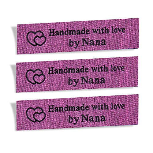 Wunderlabel Handmade with Love by Nana Granny Mix Thread Craft Art Fashion Woven Ribbon Ribbons Tag Clothing Sewing Sew Clothes Garment Fabric Material Embroidered Label, Black on Pink, 25 Labels