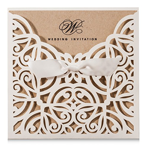 (Wishmade Square Ivory Laser Cut Wedding Invitations Cards with Kraft Paper Invitation with Bow Lace Sleeve Engagement Bridal Shower Birthday Quinceanera (Pack of 50pcs))